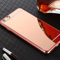 Wholesale New Fashion luxury Rose gold Luxury Mirror Soft TPU Gilded Case For iPhone S S PLUS