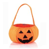 basket candy gift - Halloween Pumpkin Bags Candy Gifts bag kid s Non Woven Carry bags Pumpkin Baskets children s Food bag Product Code