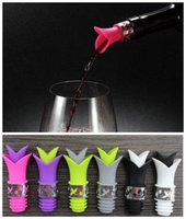 Wholesale LIly Silicone Wine Bottle Stoppers Reusable in Wine Paurer Rabbit and Beverage Bottle Pourer with Stainless Steel accent color DHL