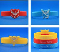 Wholesale poke Go Silicone Bracelet Colors Pocket Monster team Wristbands Poke Ball Pikachu Squirtle valor mystic instinct logo Bracelets bangles