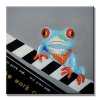 asian wall decor - Frog playing the Piano Hand Painted Asian contemporary WALL DECOR Art Oil Painting On High Quality Canvas customized size accepted little