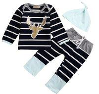al por mayor tutú recién nacido azul-2017 sistemas del bebé del otoño 3pcs Boy Niña Niños ciervos rayada Establece un infante recién nacido de la camiseta + Blue Sky Hat + pantalones largos trajes de la ropa del