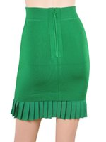 apparel clothing designs - 2016 womens fashion green skirts luxury brand design pleated mini skirt tight fit bodycon office lady clothing formal apparel for woman