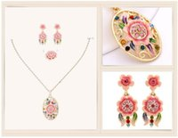 Wholesale Cloisonne Crafts Sunflower Gold Plated Jewelry Set Fashion crystal jewelry Necklace Earrings Ring Set Wedding jewelry