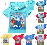 animal rescue shirt - 2016 Hot sell summer ROBOCAR Kids clothing boys clothing girls clothing short sleeve pure cotton POLI The rescue of the little hero T shirt