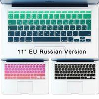 Wholesale Russian Keyboard Stickers Air inch Gradient Euro Layout Silicone Keyboard Cover for MacBook Air