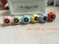 Wholesale Special offer ceramic pumpkin handle of American children s room high grade colorful retro cabinet drawer Zi alloy handle