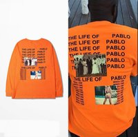 Wholesale Kanye West The I Life Of Pablo Kanye Yeezus Hip Hop T shirt Men Summer Brand Clothing T Shirt I feel like Pablo Kanye Orange Tee
