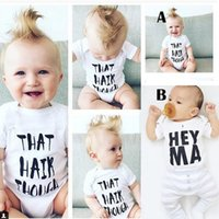 Wholesale 2016 Baby Boys Girls Cotton Onesies Kids T Shirt Letter Printed Jumpsuits Summer Triangle Romper For Children White Climb Outifits