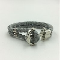 anchor logos - PH Brand Genuine Grey Leather Anchor Bracelet With Original Logo Bracelet For Sale Leather Colors For Choice