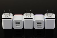 Wholesale Real A Dual Ports USB AC Power Wall Charger Aluminum Trim US PlugTarvel Charger Adapter for iPhone Samsung s6 s7