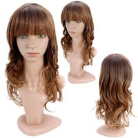 Cheap Cheap Fashion synthetic hair Wig Ombre Purple&brown Heat Resistant Hair wigs Popular