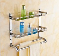 Wholesale 40cm multifunctional towel holder high bearing luxury bathroom stainless steel towel rack bilayer wall mounted towel hanger