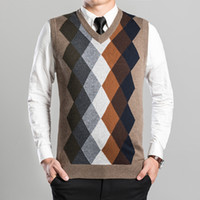 argyle cashmere sweater - New Arrival Fashion Design Mens V Neck Diamond Argyle Pattern Cashmere Sweater Vest