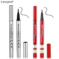 Wholesale YANQINA Waterproof Eyeliner Pen Silver Tube Body Super Black Fixed Eye Liner Maxi black Cool Eye Liner Pencil Quick Drying rzsm