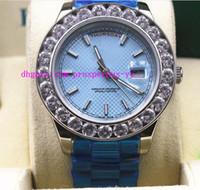 Precio de Cerámica blanca reloj de pulsera-Relojes de lujo para hombre Mens Bigger Diamante Día-Fecha Presidente 18k Oro Blanco Reloj Bisel De Cerámica Con La Venda 41mm Hombres Mecánicos Reloj Reloj