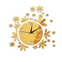Wholesale 2016 hot sale mirror wall clock clocks modern design quartz geometric single face acrylic diy watch sticker decor TY2002