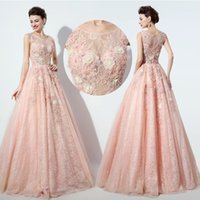 Wholesale Blush Gold Embroidery sheer neck Prom Pageant Dresses Real Image Bling Bling Sparkly ball gown Arabic Occasion Dresses High Quality