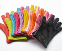 Wholesale Microwave Silicone BBQ Gloves Insulated Kitchen CookingBakeware Tool Baking Heat Resistant Glove Oven Pot Holder