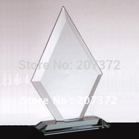 Wholesale size mm Jade glass award for decoration glass business gifts glass trophy