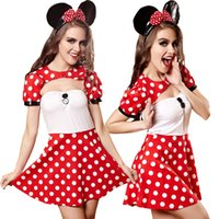 adult animations - Sexy Mickey Mouse Costume Adult Red Polka Dot Open Chest Dress Sexy Animation Game Uniforms Halloween Minnie Mouse Dancing Dress