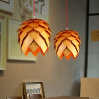 Wholesale Denmark Antique PH Artichoke Oak Wooden Pineal Modern Creative Handmade Wood LED Hanging Pendant Lamp Lighting Light CM CM