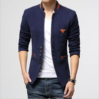 Wholesale Cool Slim Men Blazer - 2016 Autumn New Men's casual fashion Jacket Coat wild Slim Suit Small suit jacket turn-down collar knitted blazer Cool men's Outwear