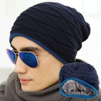 active building - 2017 New Simple Black Grey Men Women Winter Warm Elasticity Knit Stripe Hat Built in Plush Wool Hat Ski Hat Baggy Cap cc786
