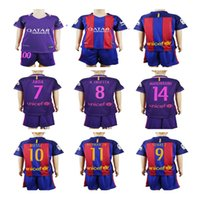 barcelona soccer gifts - Barcelona jerseys Kids boys kits set home red Away purple Messi Suarez soccer jerseys youth best gift todller football shirt