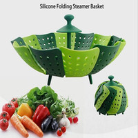 Wholesale Stackable Design Nylon And Silicone Steamer Folding Fruit Bowl Multifunction Steaming Rack Drawer Silicone Folding Steamer