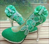 bar mitzvah - 2016 Spring shoes high with fine green white wedding shoe with crystal light mouth red bride shoes diamond bar mitzvah