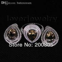 beautiful women smoking - Jewelry Set Fashion Women Beautiful Solid Kt White Gold Diamond New Elegant Smoke Topaz Rings Earrings For Sale