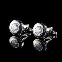 Wholesale 1 Pair New Mens Cufflinks Crystal Round French Shirt Suit Cuff Link Fashion Party Wedding Jewelry Gift With Box