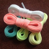 Wholesale 20Pcs Brand New Luminous Glow In The Dark Shoelace Flat Athletic Sport Boots Shoe Laces Strings Pairs CA12264