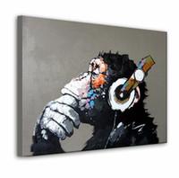 art headphone - Orangutan wear Headphones Hand Painted Modern Abstract Cartoon Graffiti Art oil painting High Quality Canvas Home Wall Decor in custom sizes