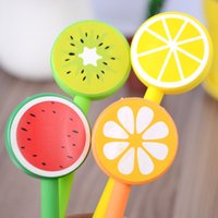 ballpoint pen kits - New Stationery Kids Fruit Style Plastic Kawaii Writting Pens Novelty Ballpoint Pen Kits Caneta Seringa