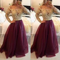 Wholesale 2017 Long Sleeves Burgundy Prom Dresses Bateau Neck Off The Shoulder Appliques Lace Organza Floor Length Evening Gowns Sweet Dresses
