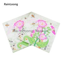 bee napkins - RainLoong Floral With Bee Paper Napkins Event Party Supply Printed Dinner Tissue Napkins Serviettes Decoupage Table Decoratio cm cm