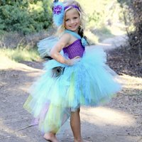 balls handcrafted - Handcrafted Girls Peacock Tutu Dress Elegant Tulle Flower Girl Dress Pageant Wedding Birthday Photograph Birthday Party Dresses