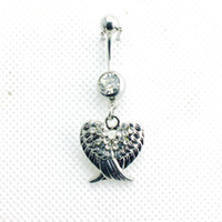 bell wing - Piercing Jewelry Fashion Navel Rings Stainless Steel Barbell Dangle Double Rhinestone Wings Belly Button Rings Body Jewelry