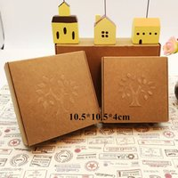Wholesale Brown Kraft Paper Box for Craft Gift Handmade Soap Packing Embossing Tree Cardboard Boxes cm
