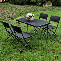 Wholesale IKAYAA FT Outdoor Garden Excellent HDPE thick steel camping folding table and chair H16640