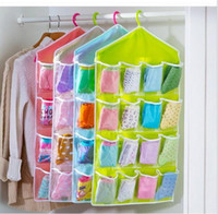 Wholesale 16 Pockets Over Door Cloth Stocking Organizer Hanging Hanger Clear Closet Space Storage High Quality Socks Holder Case Organizer SV025375