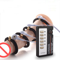 balls enlargement - Male Chastity Devices For Men BDSM Toys Time Delay Electric Shock Cock Ring Ball Stretcher Extender Enlargement BDSM Sex Toys