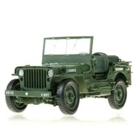 Wholesale 1 Army Jeep Off road Military Model Open Door Toys Alloy Diecast Vehicle Gift