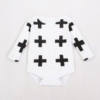 Wholesale 2016 Spring autumn baby pure cotton rompers infant toddlers full print cross climb rompers