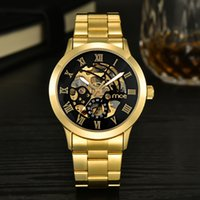 automatic numbering - A New Automatic Skeleton Men s and Women s Fashion Luxury Watch Full Gold Steel Band Mechanical Roma Numbers Clock Watch Men Women