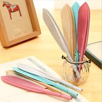 Wholesale pc mm black ink feather gel pen cute kawaii green gold red silver color gel pen school office supplies promotion gift