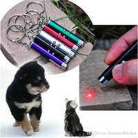 Wholesale 2 in Funny Pet Stick Childrens Cat Dog Toys Red Blue Laser Pointer Pen With White LED Light Show Key Chain