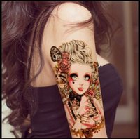 baby temporary tattoos - In business styles CM Waterproof Painted Body Art Tattoo water transfer tattoo sticker Baby Beauty Doll Pattern temporary tatto